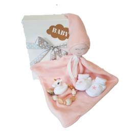 Cadeau set knuffeldoekje Roze