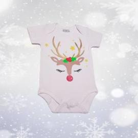 Kerst romper Rudolf wit