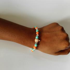 Kinder armband schildpad oranje 2