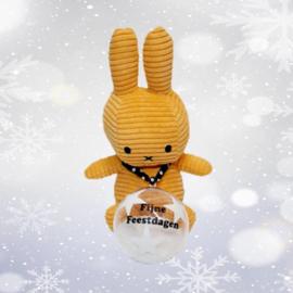 Nijntje corduroy geel met kerstbal