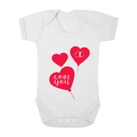 Baby romper I love you hart ballon - wit