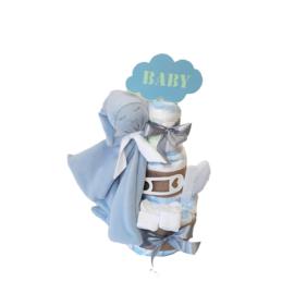 luiertaart knuffeldoekje baby blauw