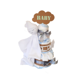 Luiertaart knuffeldoek baby Wit
