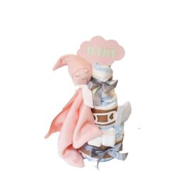 Luiertaart knuffeldoek baby Roze