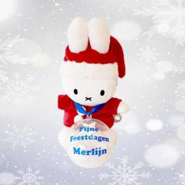 Kerst Nijntje met kerstbal blauw