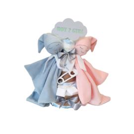 Luiertaart knuffeldoekje baby Roze/Blauw
