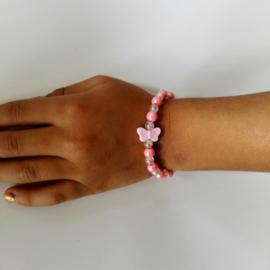 Kinderarmband vlinder Roze/wit