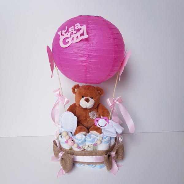 Luiertaart meisje luchtballon beertje