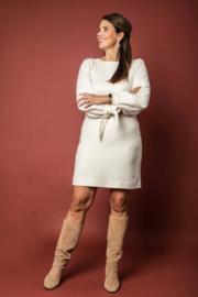Haer Dress 2 - Duurzame jurk met strikmanchetten in off white