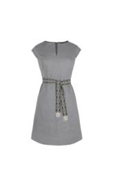 Haer Casual 2 - getailleerde linnen jurk grijs