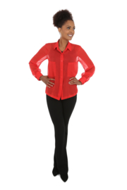 Haer Top 5 - Overhemdblouse in Crêpe Georgette zijde in rood