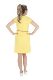 Haer Casual 2 - Getailleerde linnen jurk  geel