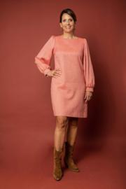 Haer Dress 1 - Duurzame jurk met pofmouwen in coral