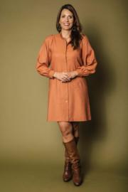 Haer Dress 3 - Duurzame doorknoopjurk met pofmouwen in terracotta