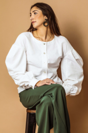 Haer Top 15 - Blouse met pofmouwen van gerecyclede katoen in off white