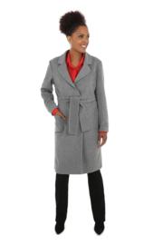 Haer Coat 2 - Jas met strikceintuur in grijs