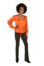 Haer Top 4 - V-hals blouse in Zijde Satijn in oranje