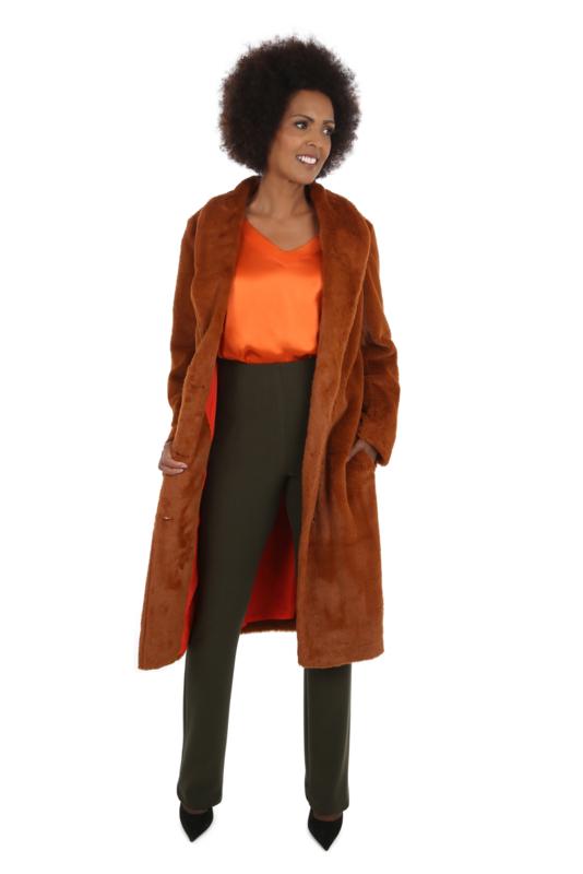 Haer Coat 4 - Mantel in cognac bont