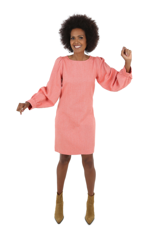 Haer Stay 1 - Duurzame jurk met pofmouwen in coral