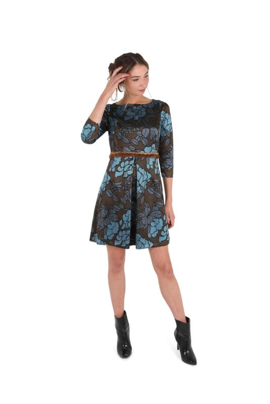 Haer Party 3 - Getailleerd jurkje in bruin en blauw