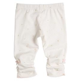 Gymp 0313 Legging Off White met goud bloemetje en Roze stipje