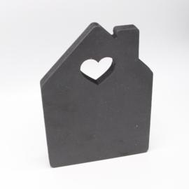 18mm huisje hart15x21cm zwart