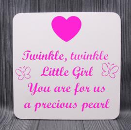 houten bord met ster 20x20cm twinkle twinkle... Girl