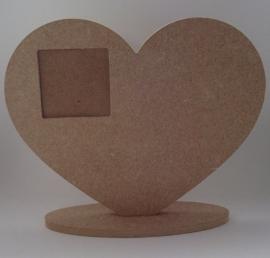 staand hart met vierkant fotolijstje