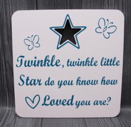 houten bord met ster 20x20cm twinkle twinkle
