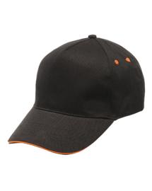 zwarte pet met oranje bies