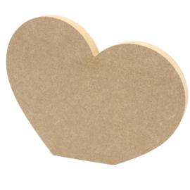 MDF hart met rechte onderzijde 16,5x13cm