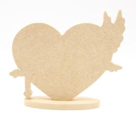 MDF hart incl. ovale standaard met kruis en vredesduif
