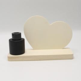 plankje hart met zwart vaasje/parfumflesje