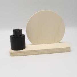 plankje cirkel met zwart vaasje/parfumflesje