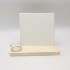 plankje met theelichthouder en sublimatietegel 15x15cm