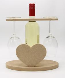 wijnhouder voor fles wijn en twee glazen (hart, mdf)