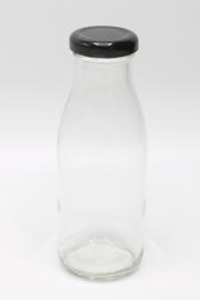 Glazen fles met zwarte dop 250ml