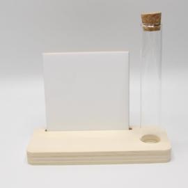 plankje met buisje en sublimatietegel 10x10cm