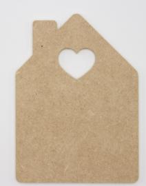 houten bord huisje met hart 15x21cm