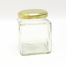 Glazen potje vierkant met gouden dop 212ml