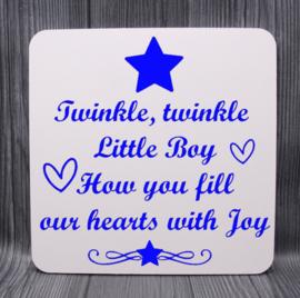 houten bord met ster 20x20cm twinkle twinkle... Boy