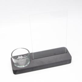 plankje zwart  met theelichthouder en glazen plaatje