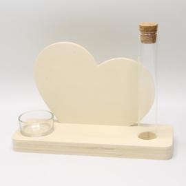plankje met buisje en theelichthouder hart