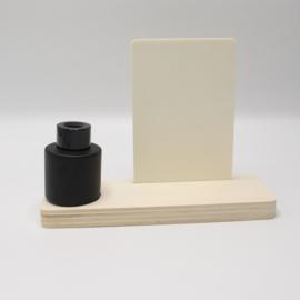 plankje rechthoek met zwart vaasje/parfumflesje