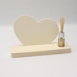 plankje hart met mini parfumflesje