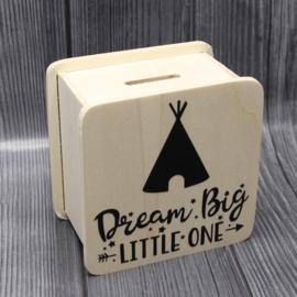 spaarpot rechthoekig 9,6x9,6x6cm dream big little one