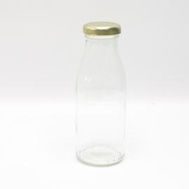 Glazen fles met gouden dop 250ml