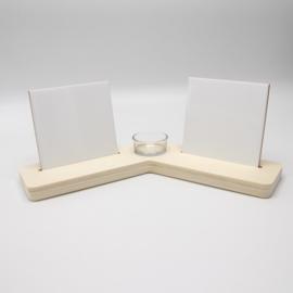 plankje met theelichthouder en 2 sublimatietegel 10x10cm