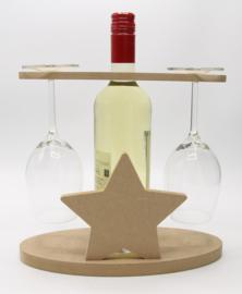 wijnhouder voor fles wijn en twee glazen (ster, mdf)