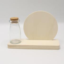 plankje cirkel met flesje/vaasje